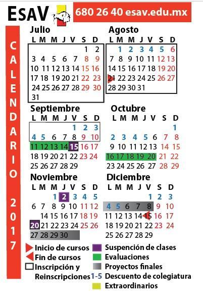Calendario esav for Maestria en arquitectura de interiores